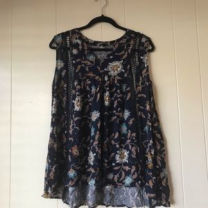 Mittoshop Blue Floral Swing Tank Top